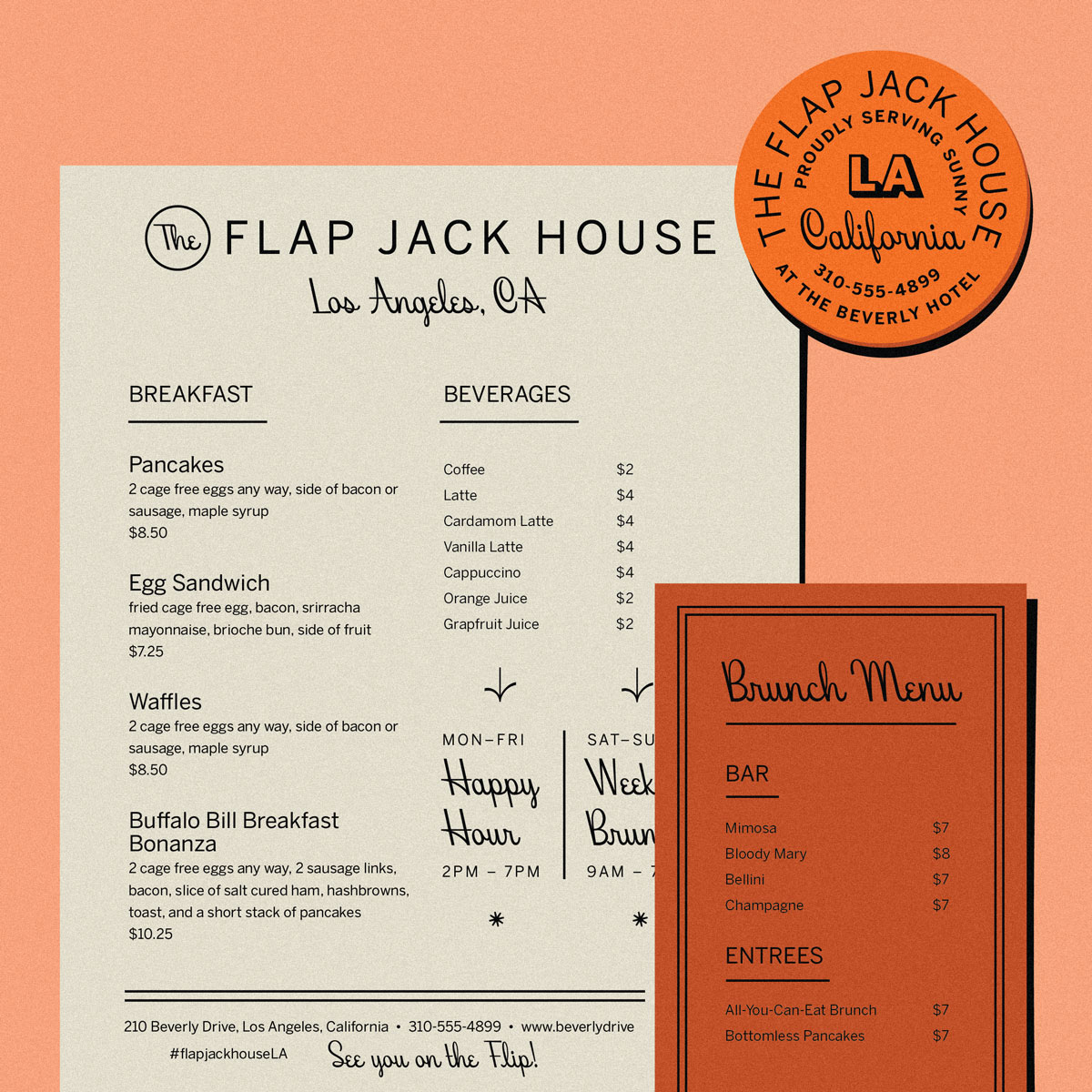 Faux menu using Beverly Drive and retro colors